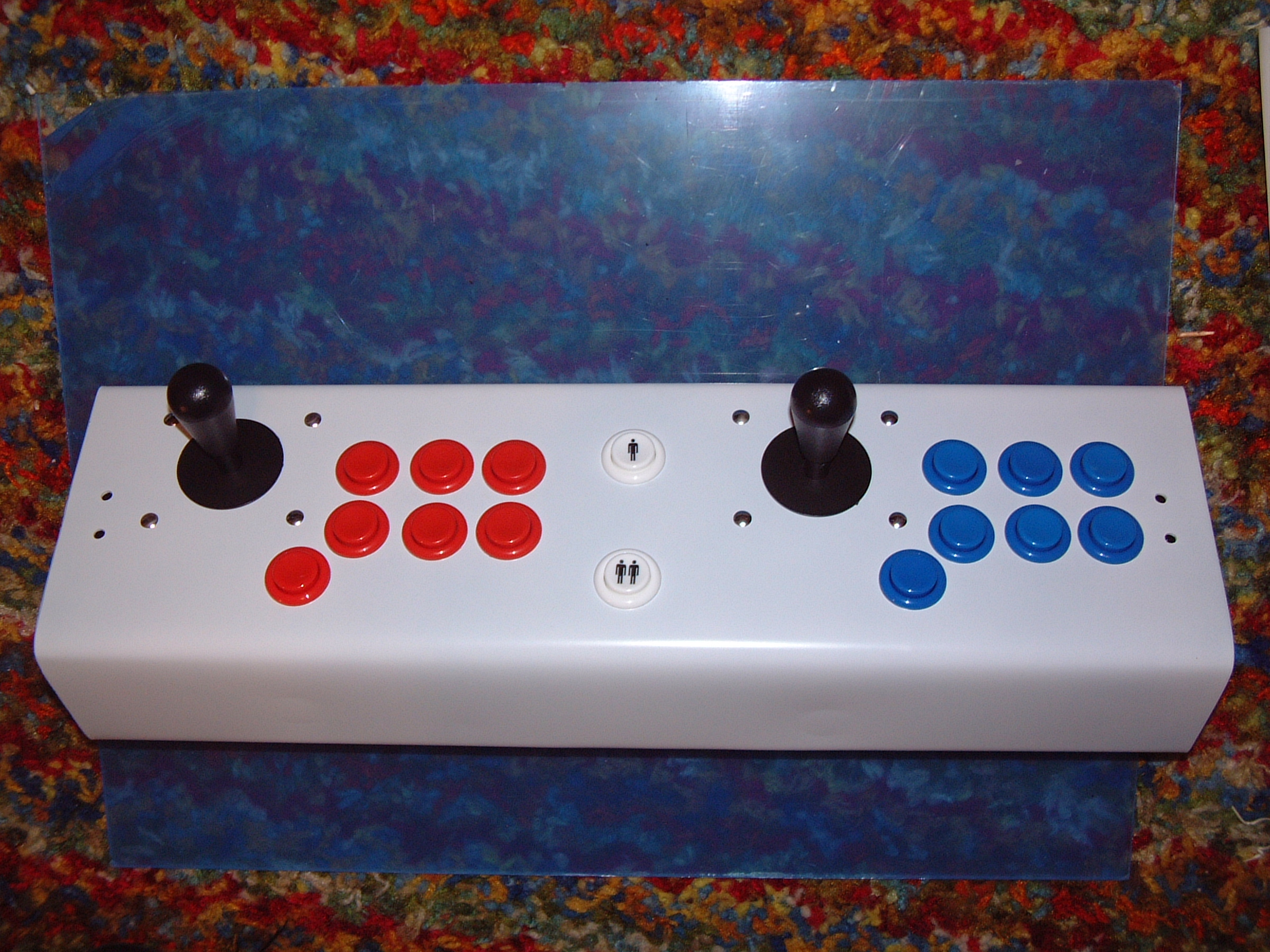 Arcade cabinet metal paneled joysticks